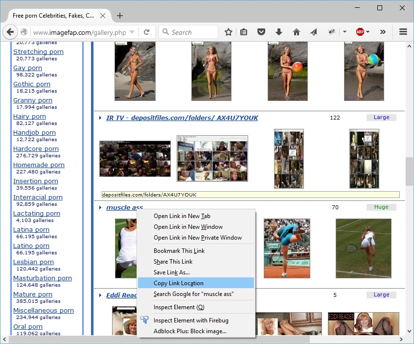 Copy imagefap gallery address into clipboard